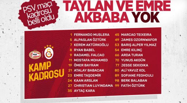 Galatasaray'ın PSV maçı kamp kadrosu açıklandı