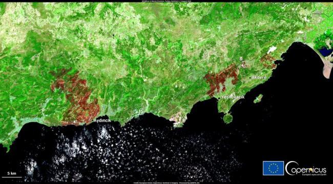 Türkiye'deki yangınların boyutu uydudan görüntülendi